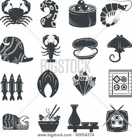 Seafood black icons vector collection