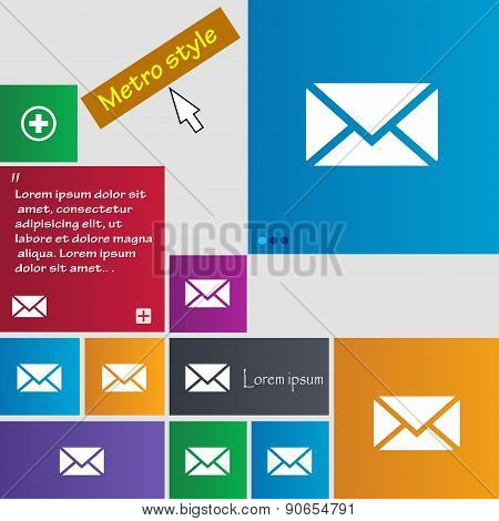 Mail, Envelope, Message Icon Sign. Metro Style Buttons. Modern Interface Website Buttons With Cursor