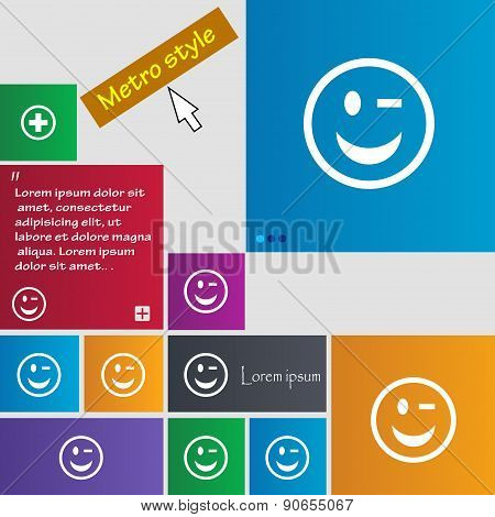 Winking Face Icon Sign. Metro Style Buttons. Modern Interface Website Buttons With Cursor Pointer. V
