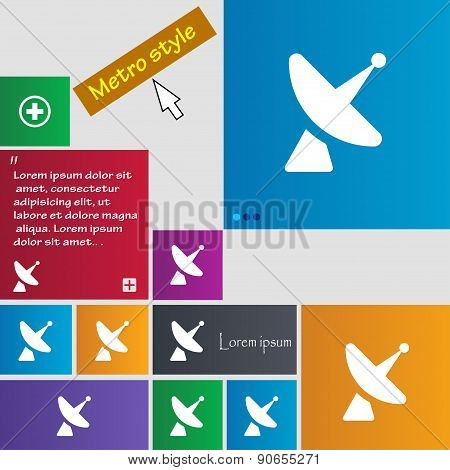 Satellite Dish Icon Sign. Metro Style Buttons. Modern Interface Website Buttons With Cursor Pointer.