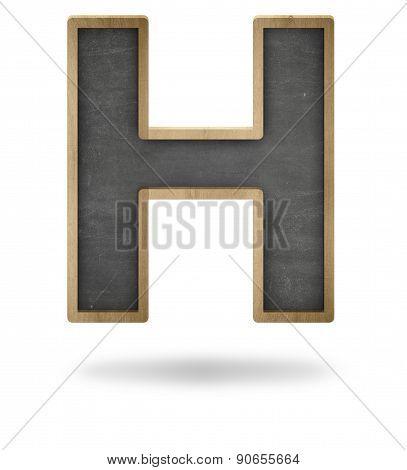 Black blank letter H shape blackboard