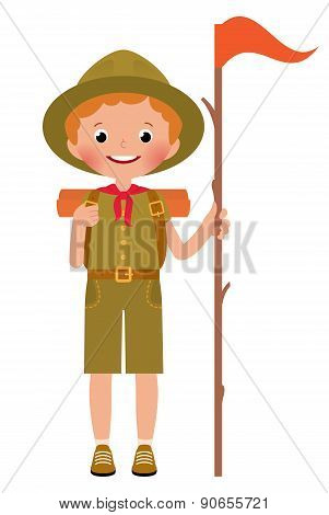 Vector Illustration Of A Smiling Child Boy Scout