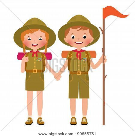 Vector Illustration Of Children Boy And Girl Scouts