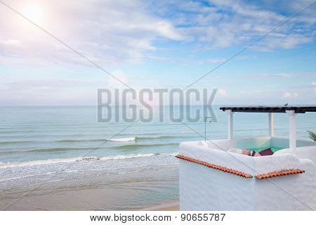 Upper Floor Terrace Over Sea View With Blue Sky And Sun Light