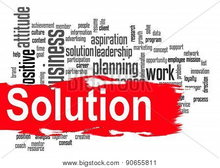 Solution Word Cloud With Red Banner