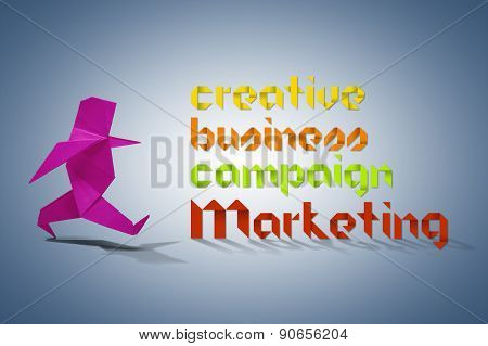 Huge Group Of Marketing Related Terms In Origami