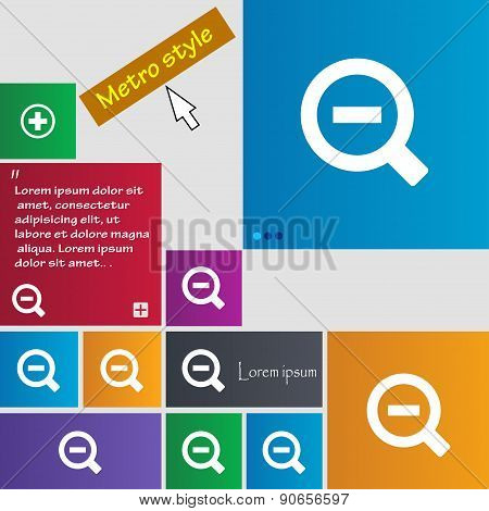 Magnifier Glass, Zoom Tool Icon Sign. Metro Style Buttons. Modern Interface Website Buttons With Cur