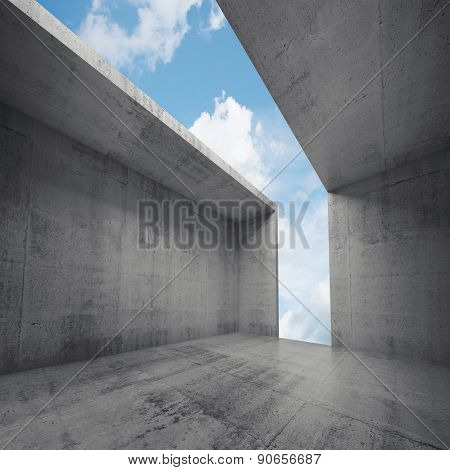 3D Empty Concrete Room Interior With Opening