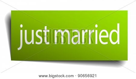 Just Married Green Paper Sign Isolated On White