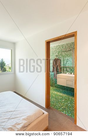 Architecture, apartment furnished, bedroom with bathroom