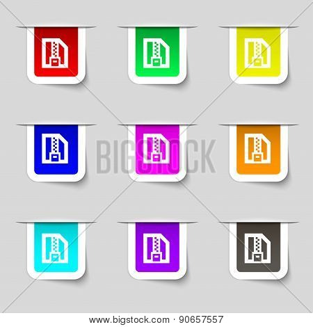 Archive File, Download Compressed, Zip Zipped Icon Sign. Set Of Multicolored Modern Labels For Your