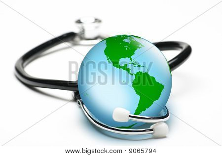 Earth Enclosed By Stethoscope