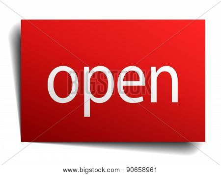 Open Red Square Isolated Paper Sign On White