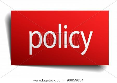 Policy Red Paper Sign On White Background