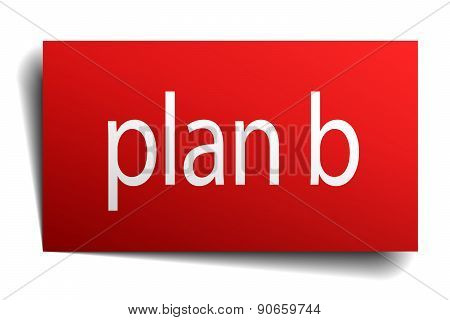 Plan B Red Paper Sign On White Background