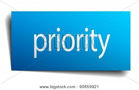 Priority Blue Paper Sign On White Background