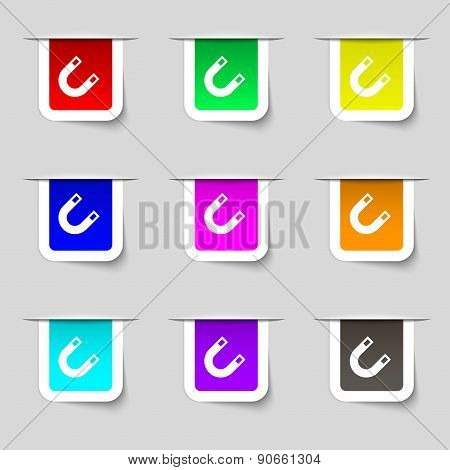 Magnet, Horseshoe Icon Sign. Set Of Multicolored Modern Labels For Your Design. Vector