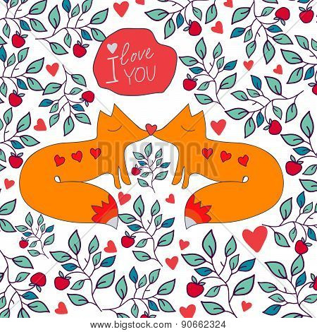 Fox And Flowers Ornament Greeting Card. Valentine Greeting Card With Foxes.