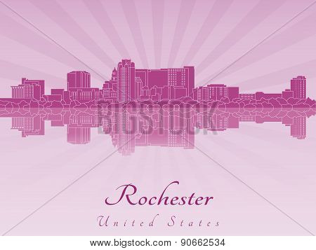 Rochester Mn Skyline In Purple Radiant Orchid