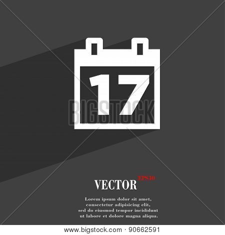 Calendar, Date Or Event Reminder Icon Symbol Flat Modern Web Design With Long Shadow And Space For Y
