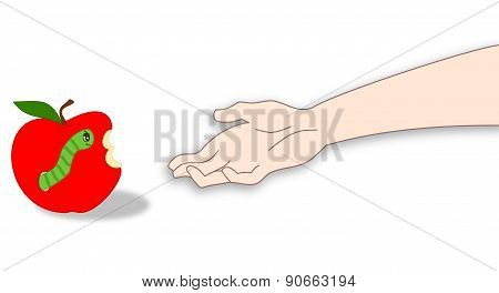 snow white and the apple with worm cartoon illustration