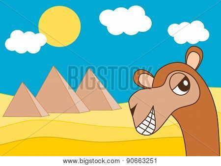 egypt pyramid and the happy dromedary funny cartoon illustration