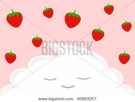 happy strawberries and the whipped cream cartoon illustration