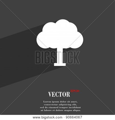 Tree, Forest Icon Symbol Flat Modern Web Design With Long Shadow And Space For Your Text. Vector