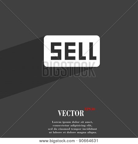 Sell, Contributor Earnings Icon Symbol Flat Modern Web Design With Long Shadow And Space For Your Te