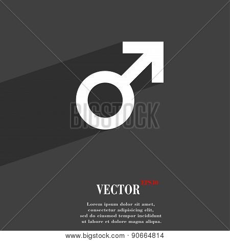 Male Sex Icon Symbol Flat Modern Web Design With Long Shadow And Space For Your Text. Vector