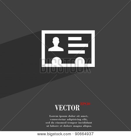 Id Card, Identity Card Badge, Cutaway, Business Card Icon Symbol Flat Modern Web Design With Long Sh