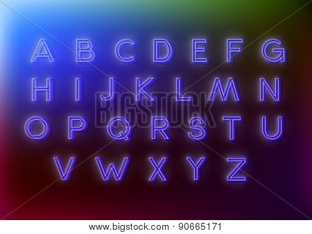 Neon alphabet vector illustrations for your design