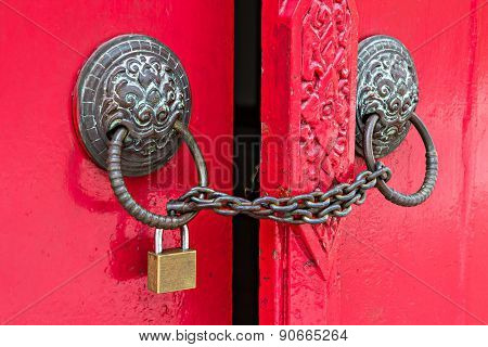 Door Locked By Chain And Padlock