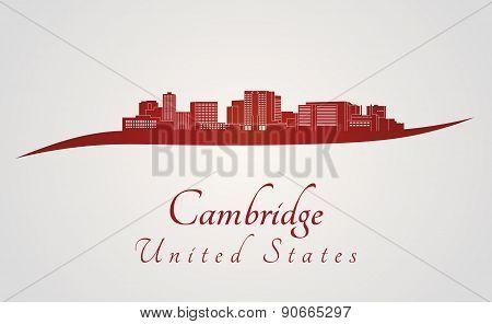 Cambridge Ma Skyline In Red
