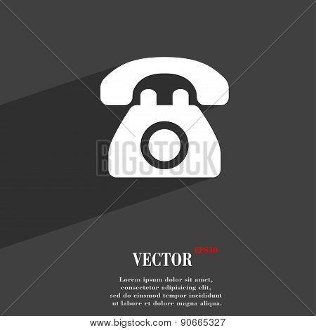 Retro Telephone Icon Symbol Flat Modern Web Design With Long Shadow And Space For Your Text. Vector