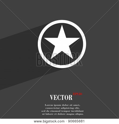 Star, Favorite Icon Symbol Flat Modern Web Design With Long Shadow And Space For Your Text. Vector