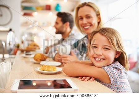 Woman with child in cafe