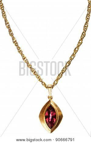 Gold And Ruby Pendant On Chain