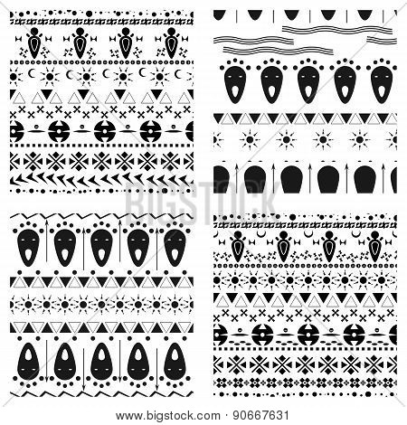 Set Of Tribal Ethnic Seamless Pattern