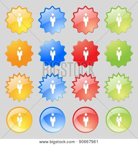 Human, Man Person, Male Toilet Icon Sign. Big Set Of 16 Colorful Modern Buttons For Your Design. Vec