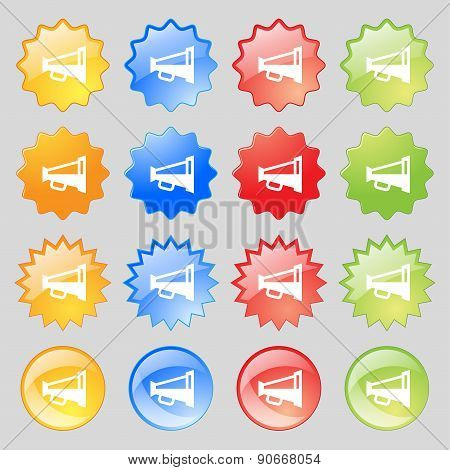 Megaphone Soon, Loudspeaker Icon Sign. Big Set Of 16 Colorful Modern Buttons For Your Design. Vector