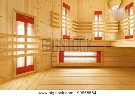 Interior Of Spacious Sauna In Residence