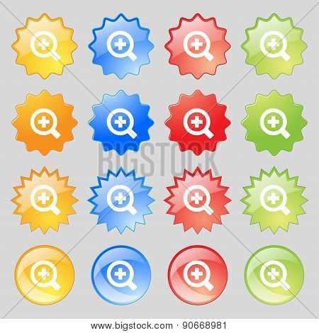 Magnifier Glass, Zoom Tool Icon Sign. Big Set Of 16 Colorful Modern Buttons For Your Design. Vector