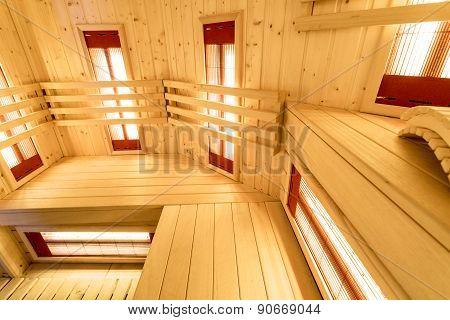 Bright Interior Of The Sauna