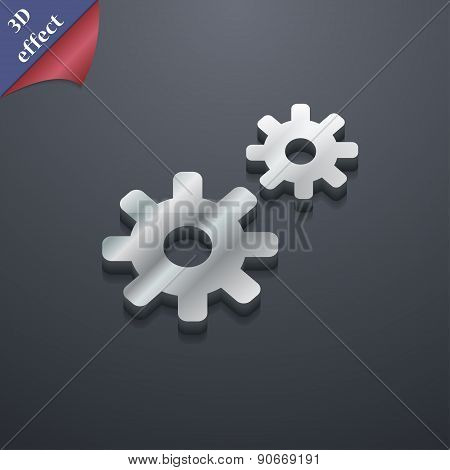 Cog Settings,  Cogwheel Gear Mechanism Icon Symbol. 3D Style. Trendy, Modern Design With Space For Y