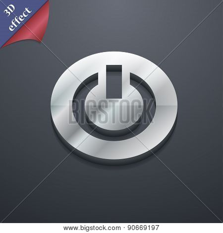 Power,  Switch On, Turn On  Icon Symbol. 3D Style. Trendy, Modern Design With Space For Your Text Ve