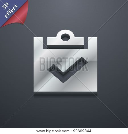 Check Mark, Tik Icon Symbol. 3D Style. Trendy, Modern Design With Space For Your Text Vector