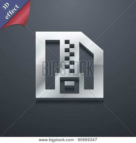 Archive File, Download Compressed, Zip Zipped Icon Symbol. 3D Style. Trendy, Modern Design With Spac