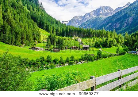 Alpine landscape with green meadows, Alps, Austria