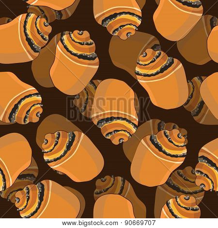 Bun with poppy seamless vector pattern grocery.